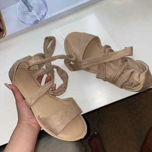 Lace up nude sandals